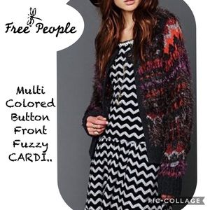 {FREE PEOPLE} multi colored fuzzy CARDI.